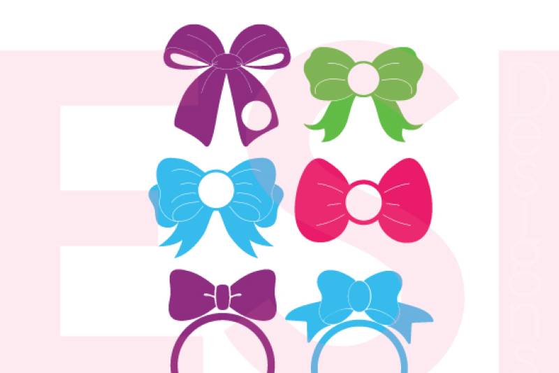 Bow Designs With Circle For A Monogram Svg Dxf Eps Cutting