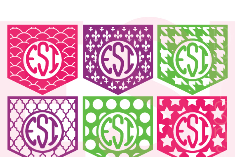 Patterned Pocket Monogram Designs Set 2 By Esi Designs