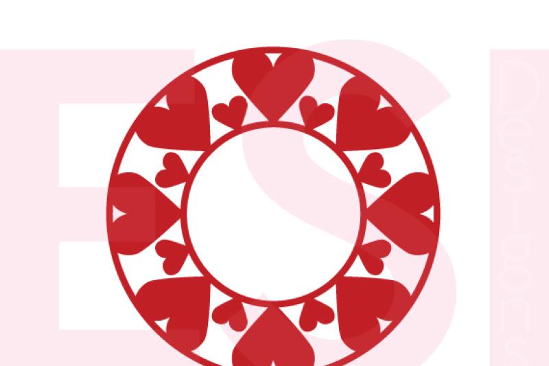 Heart Circle Monogram Frame Valentines Weddings Svg Dxf Eps