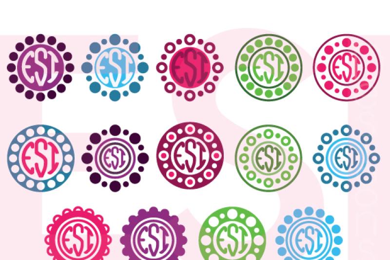 Polka Dot Circle Frames For A Monogram By Esi Designs Thehungryjpeg Com