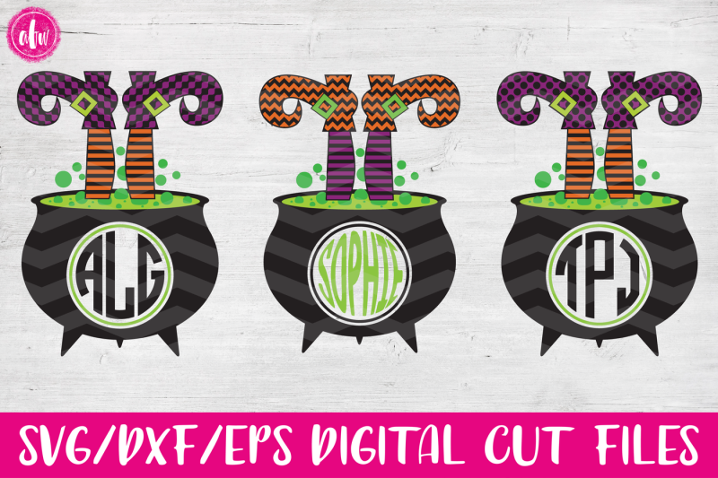 Witch Monogram Legs In Cauldron Svg Dxf Eps Cut File Design Free Svg Files Images Vector