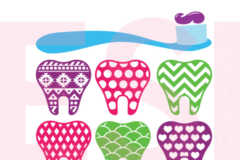 Patterned Teeth And Toothbrush Design Set Dentist Dental Svg Dxf Eps Cutting Files By Esi Designs Thehungryjpeg Com