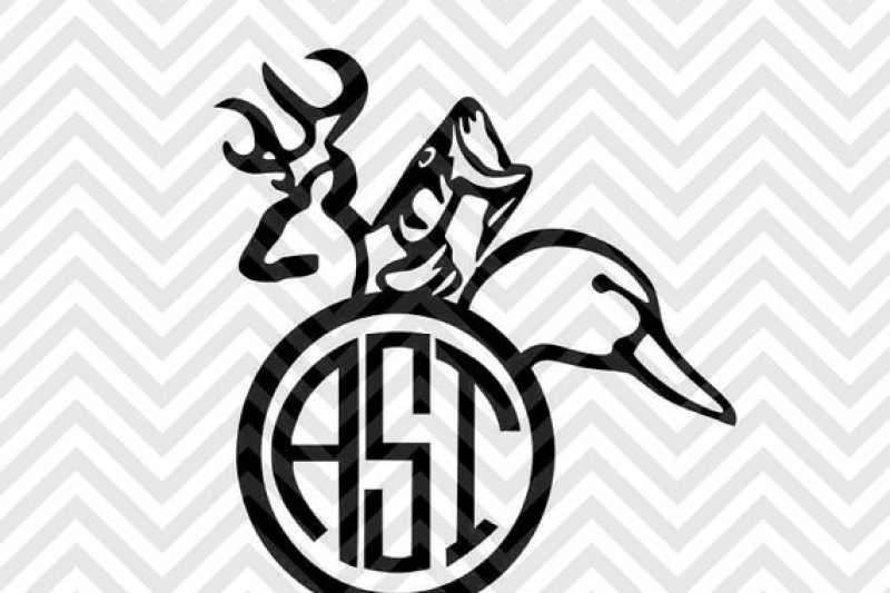 Free Hunting Monogram (Letters Not Included) SVG - Free