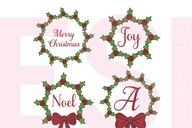 Christmas Holly Wreath Designs Svg Dxf Eps Png Cutting