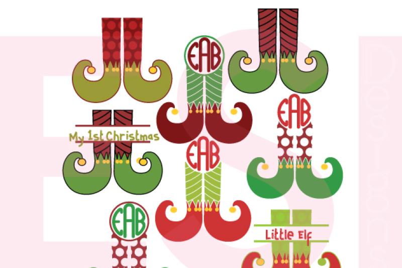 Elf Leg Monogram Designs Svg Dxf Eps Png Cutting Files By Esi Designs Thehungryjpeg Com