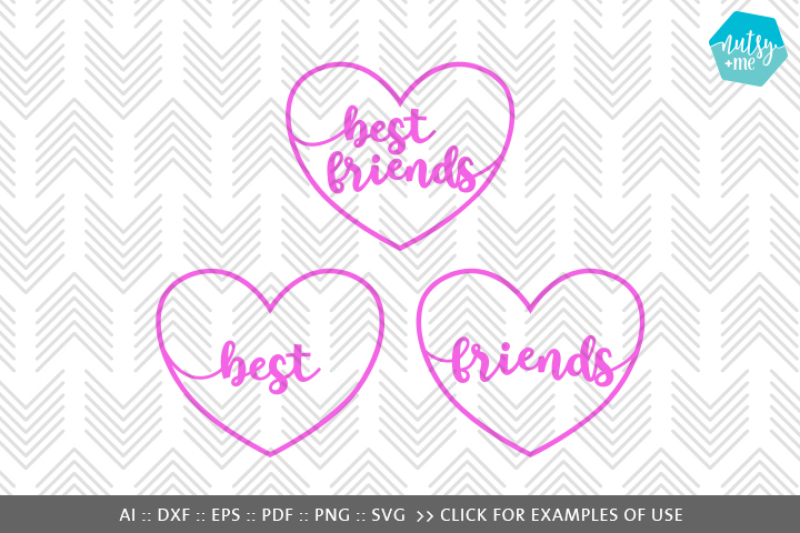 Best Friends Heart Svg Png Vector Cut File By Nutsy Me