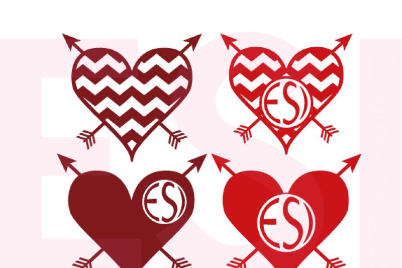 Arrow Heart Monogram Designs By Esi Designs Thehungryjpeg Com