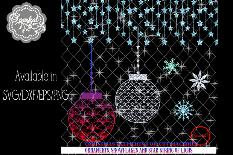 Christmas Ornaments And Garland Svg Dxf Eps Png By Sparkal