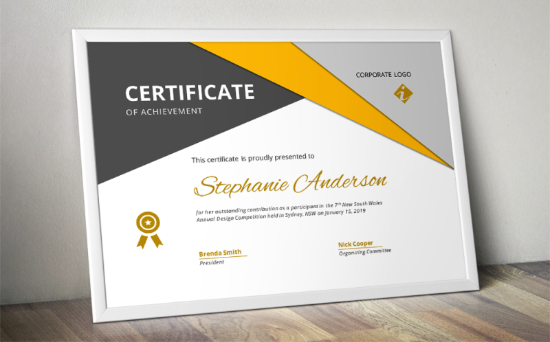 Big Triangle Corporate Certificate Template For Ms Word By Inkpower