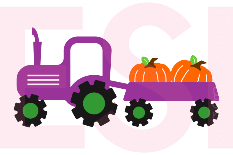 Tractor And Pumpkin Design Svg Dxf Eps Cutting Files By Esi