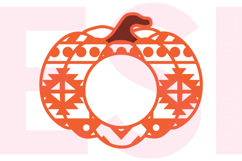 8c62156e2f3dec Free Aztec Patterned Pumpkin with Circle for a Monogram - SVG