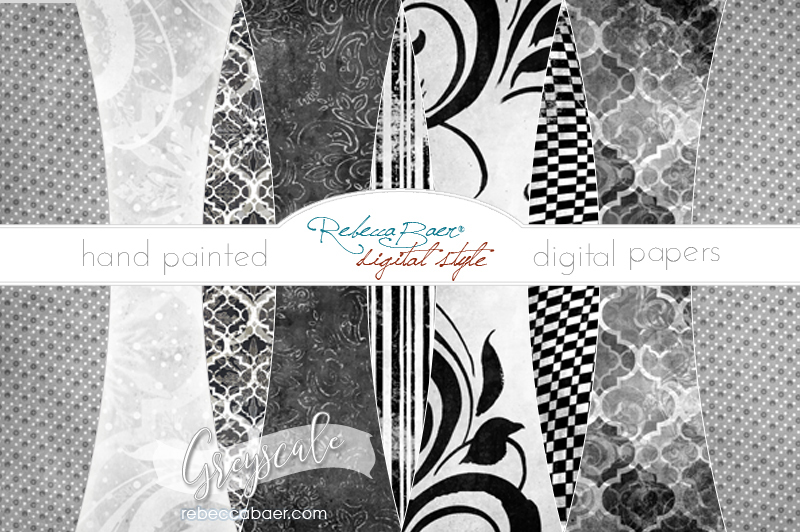Hand Painted Digital Papers Greyscale Scalable Vector Graphics Design Cut Files Design Vector
