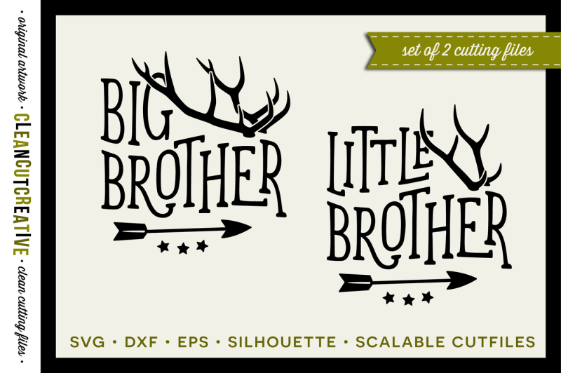 Svg Big Brother Little Brother Design With Antlers And Arrow Svg Dxf Eps Png Design Free Download Svg Files Tea
