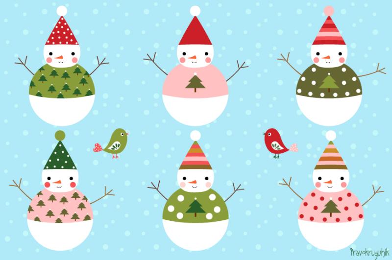Cute Snowman Clip Art, Winter Clipart, Digital Christmas