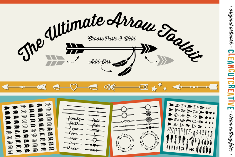 Free The Ultimate Arrow Toolkit Diy Arrows Boho Feathers Dreamcatcher Monogram Frame Svg Dxf Eps Cricut Silhouette Clean Cutting Files Crafter File Free Commercial Use