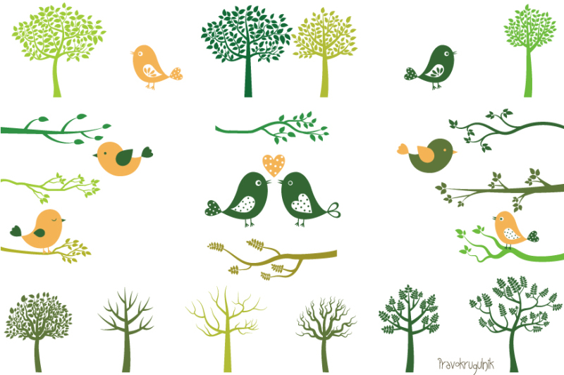 Green Tree Silhouettes Clip Art Branches And Birds Clipart Branch