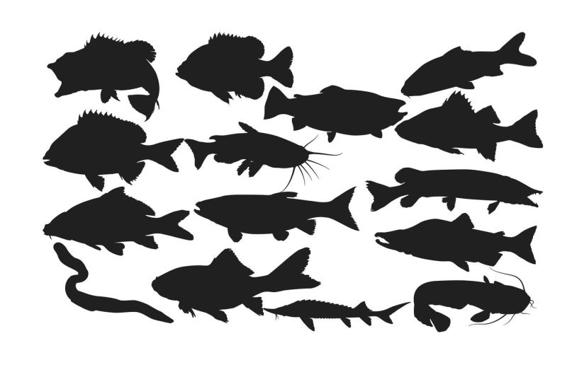 Fresh Water Fish Silhouette Ai Eps Dxf Svg Png By Rwd