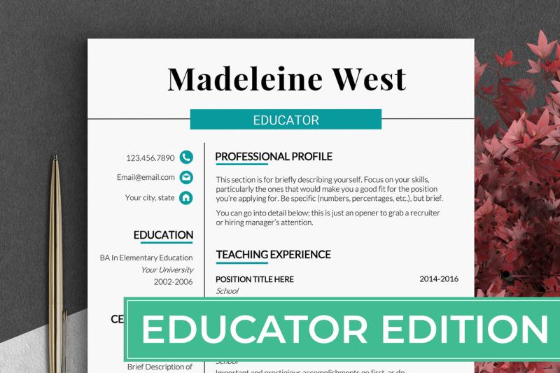 Educator Resume Template Teacher Cv Template Principal