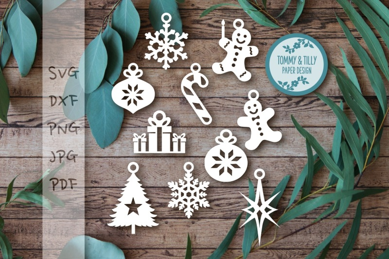 Hanging Christmas Decorations Svg Dxf Png Pdf Jpg By Tommy And