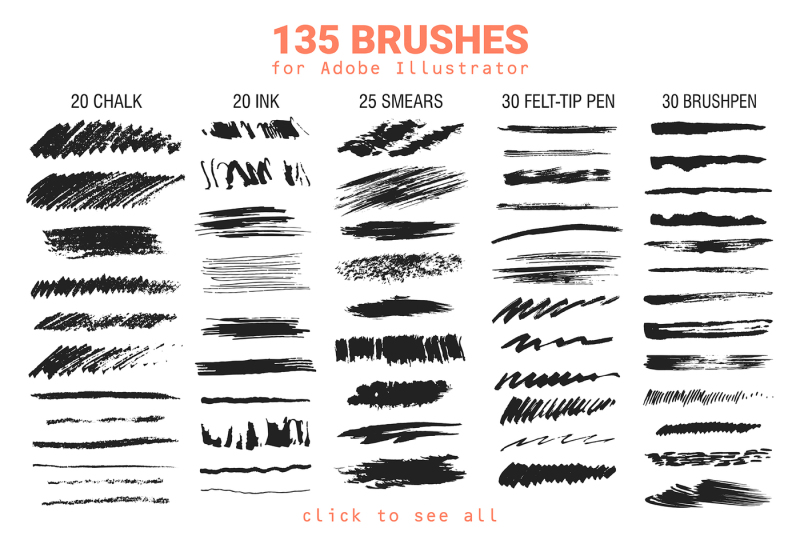 135 Vector Brushes For Illustrator By Struvictoryt