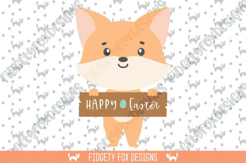 Free Fox Easter Sign Svg Dxf Cutting file for cameo and cricut