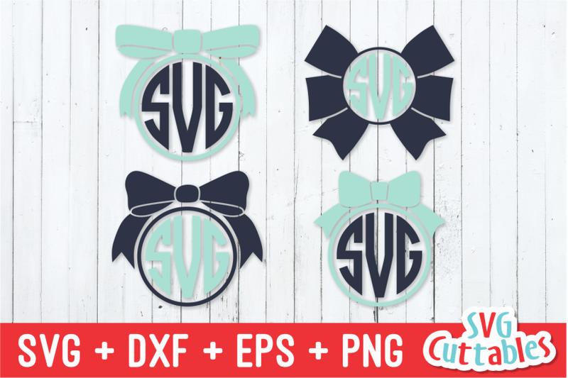Bow Monogram Frames By Svg Cuttables Thehungryjpeg Com