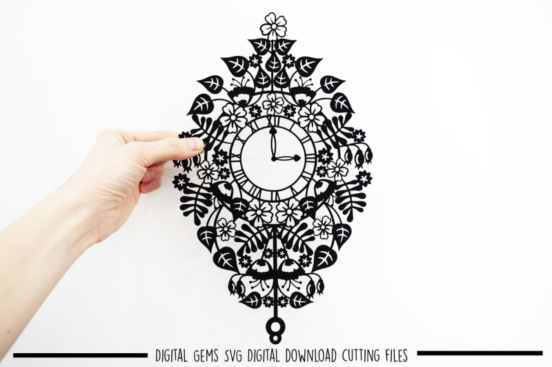 Free Clock paper cut SVG / DXF / EPS files Crafter File