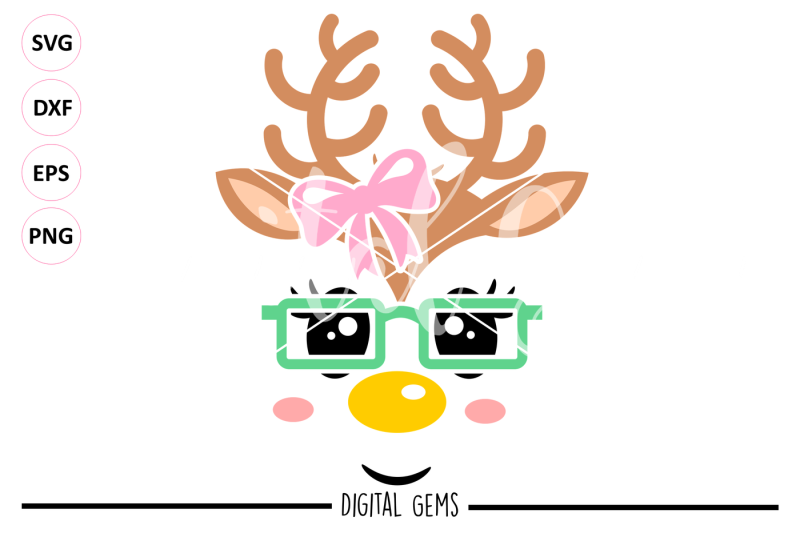 Free Reindeer Face Svg Dxf Eps Png Files Vector Svg Cut File Svg Free Cameo