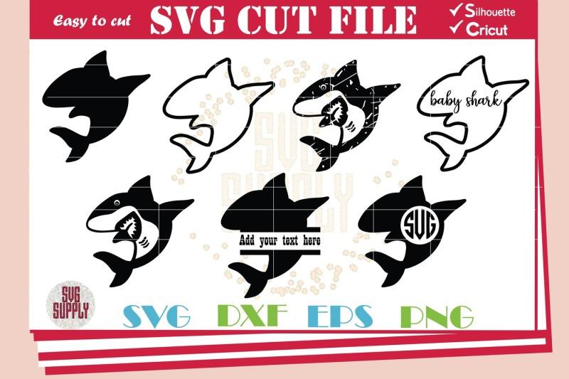 Shark Svg Shark Monogram Set Svg Cut File Design Free Guitar Svg File