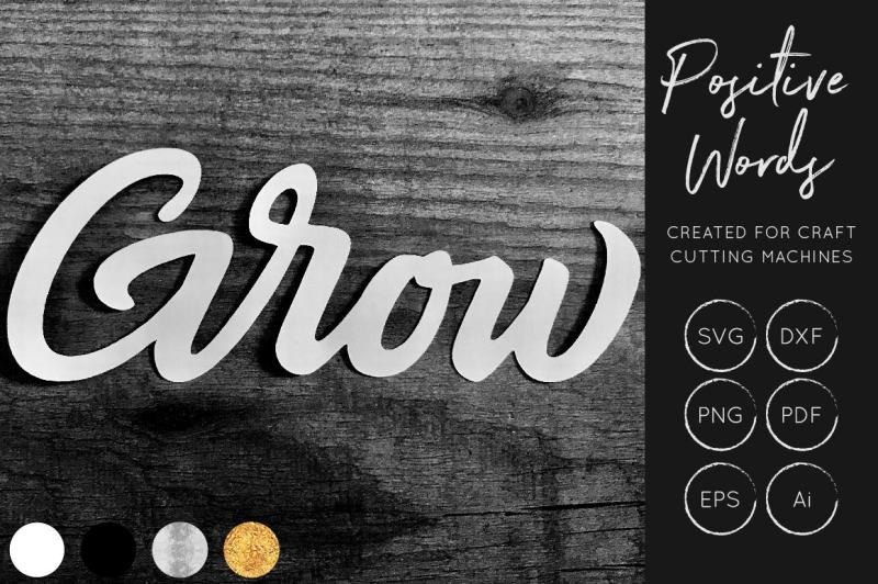 Free Grow Svg Cut File Positive Words Collection Crafter File Digital Cut Files Etsy