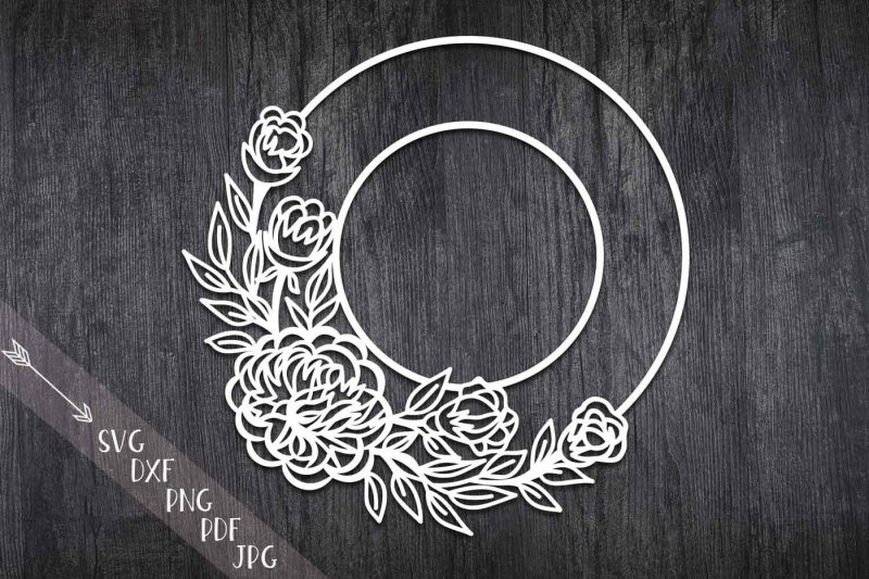 photo about Free Printable Paper Cutting Templates known as No cost flower wreath paper slash svg, Monogram bouquets
