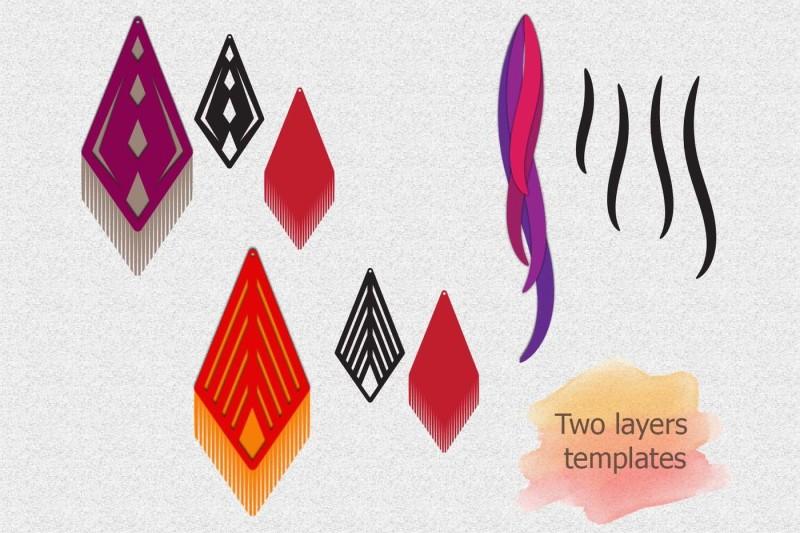 faux leather earring svg  teardrop earrings svg  pendant svg  leaf dxf by kartcreation