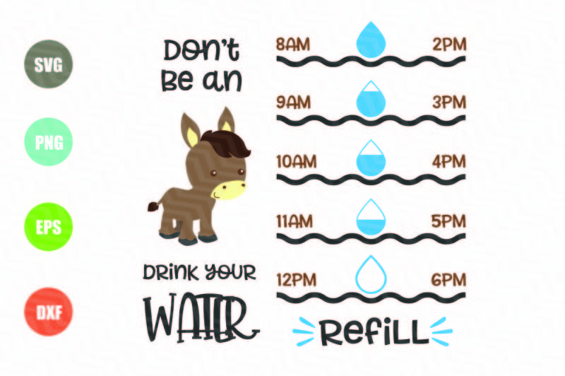 Free Water Tracker SVG, Donkey SVG Crafter File - Free SVG Cutting