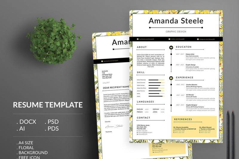 Yellow Floral Resume Template CV N By Showy68Template