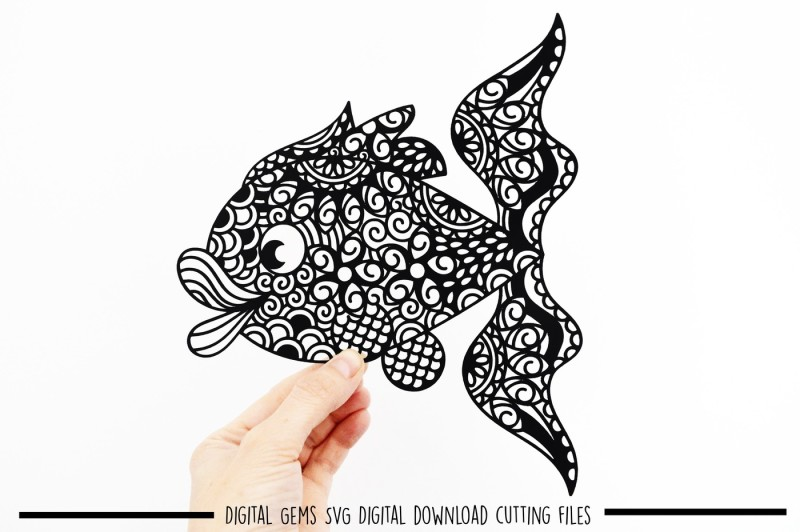 Free Zentangle fish paper cut SVG / DXF / EPS files Crafter File
