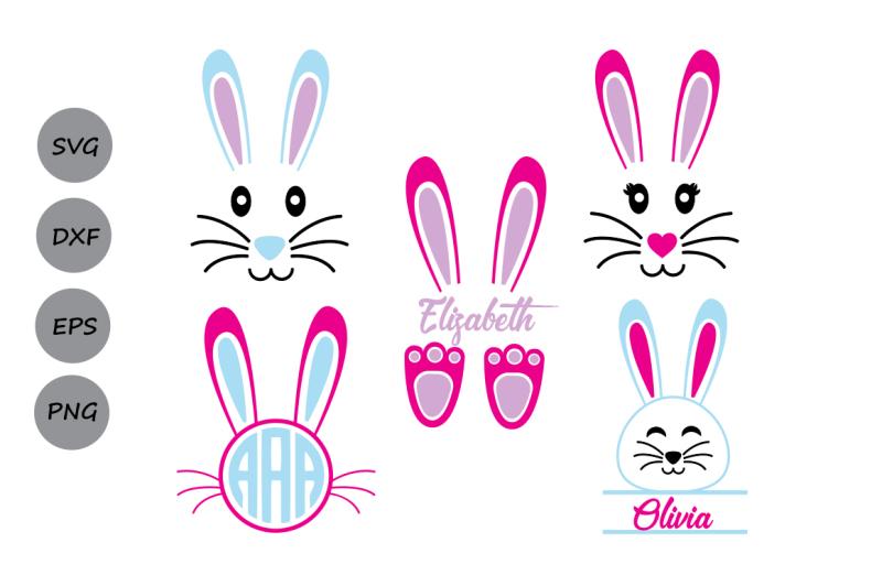 Easter Svg Easter Bunny Svg Bunny Monogram Svg Bunny