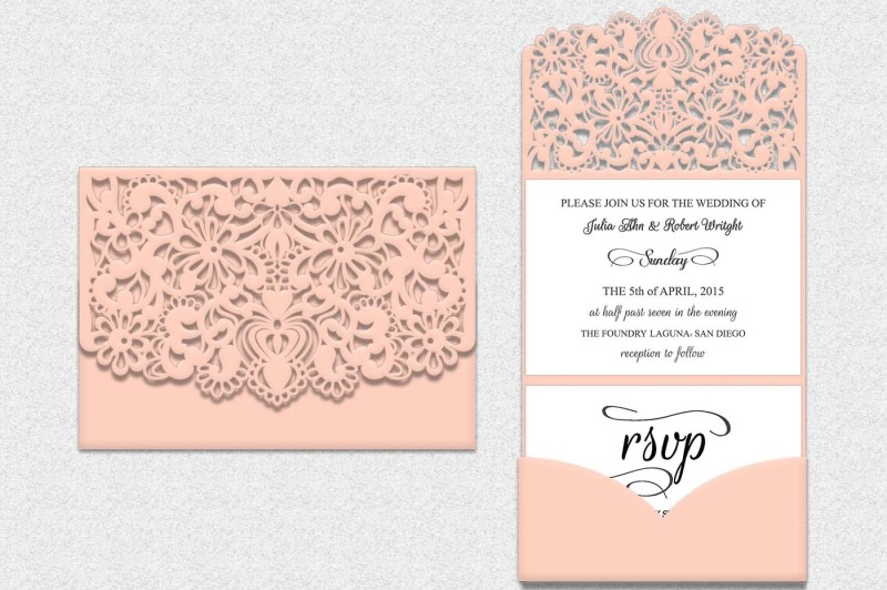 Free Tri Fold Lace Pocket Envelope Tri Fold Wedding Invitation