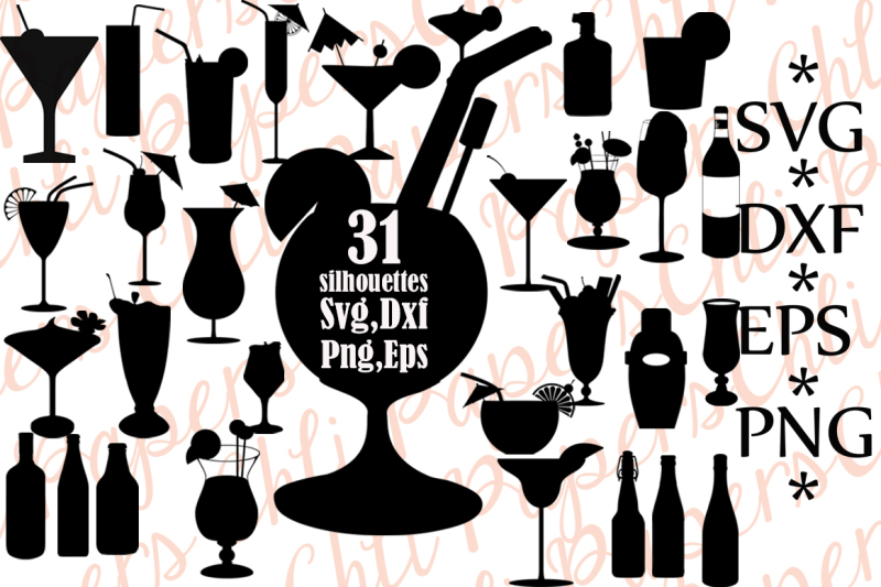 Cocktail Silhouettes Cocktail Svg Silhouettes Svg Design Free Svg Files Images Vector