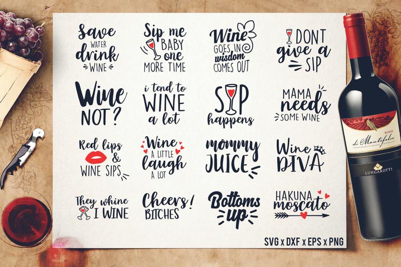 Wine Bundle Svg Wine Svg Wine Sayings Svg Wine Glass Svg Drinking Design Download Svg Files Baby