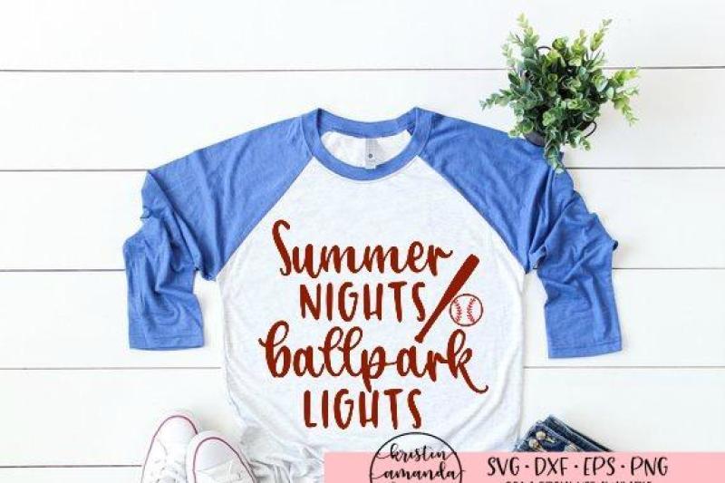 fd219ffe6a0c Summer Nights and Ballpark Lights Baseball SVG DXF EPS PNG Cut File • By  Kristin Amanda Designs SVG Cut Files