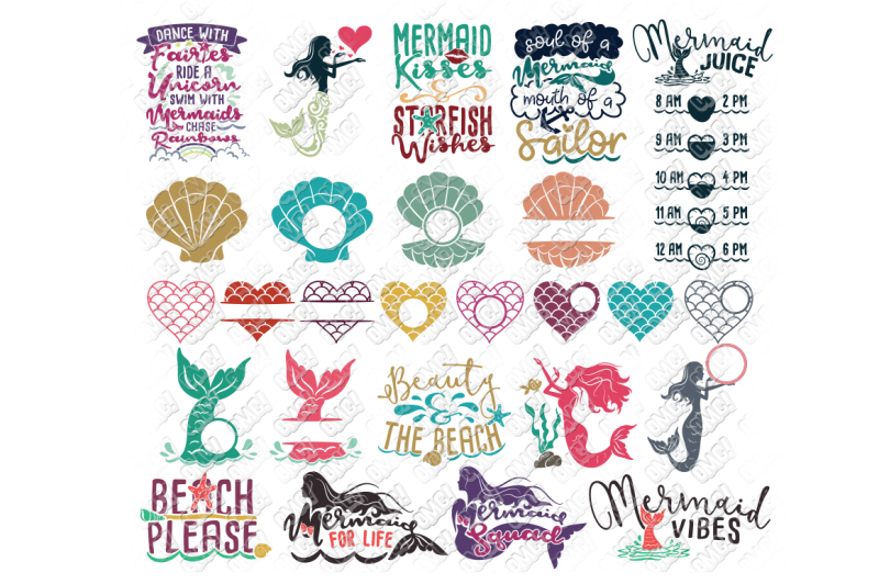 Free Mermaid SVG Bundle Quotes Sayings Monogram in SVG/DXF
