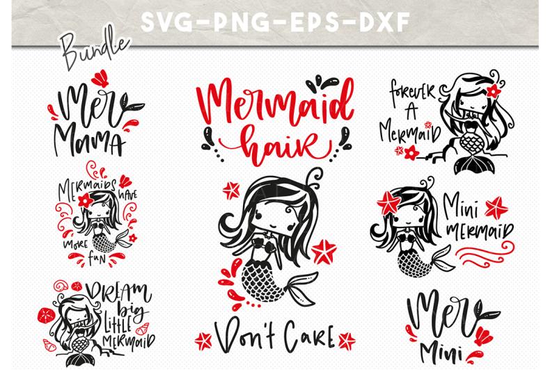 Mermaid Svg Bundle Dxf Svg Eps Png Handlettered Svg Kids Clipart Design Free Download Svg Files Friendship