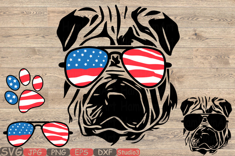 ac15934707c2 Shar Pei Dog USA Flag Glasses Silhouette SVG 4th July Bulldog 858S By  HamHamArt