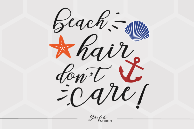 Free Beach Hair Dont Care SVG File, DXF File, PNG File