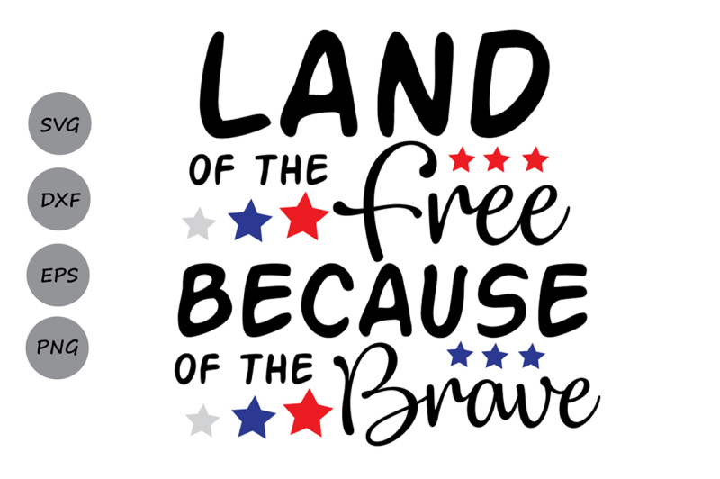 Free Land Of The Free Because Of The Brave Svg Fourth Of July Svg Svg Free Svg Fonts