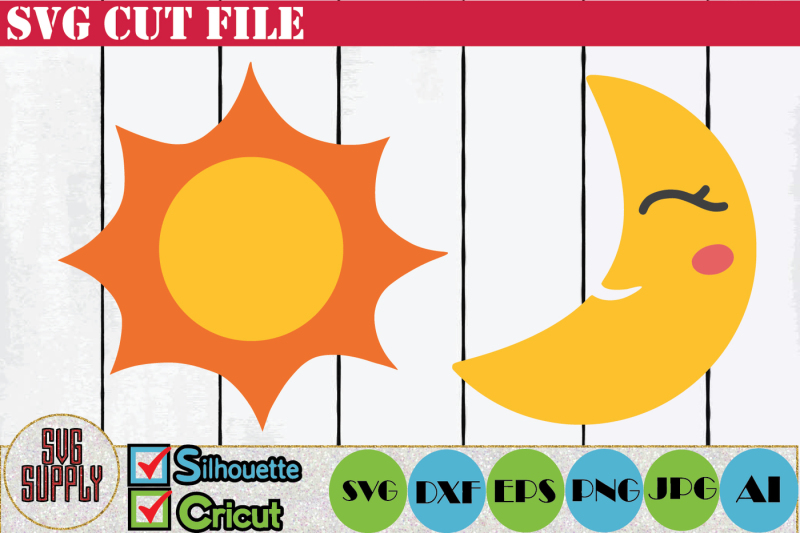 Free Sun and Moon SVG Cut File Crafter File - Download Free
