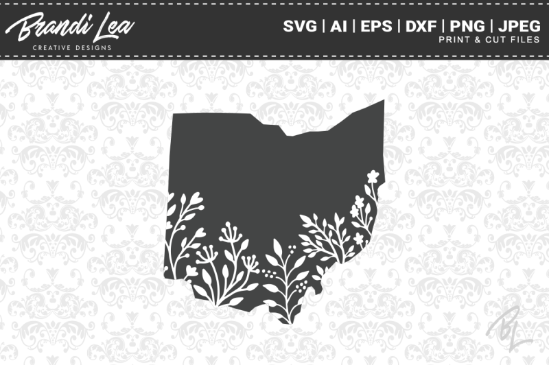 Free Ohio Map.Free Ohio Floral State Map Svg Cutting Files Crafter File Best