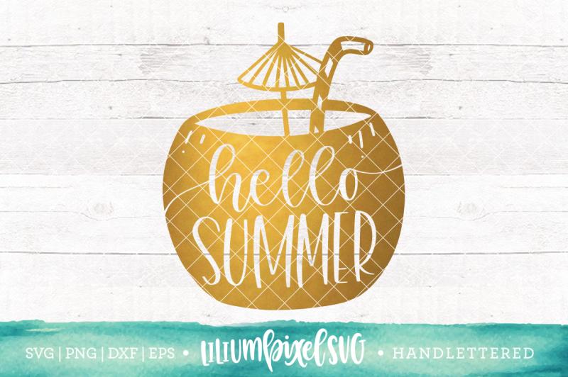 Hello Summer Coconut Design Cut Files Design Templates