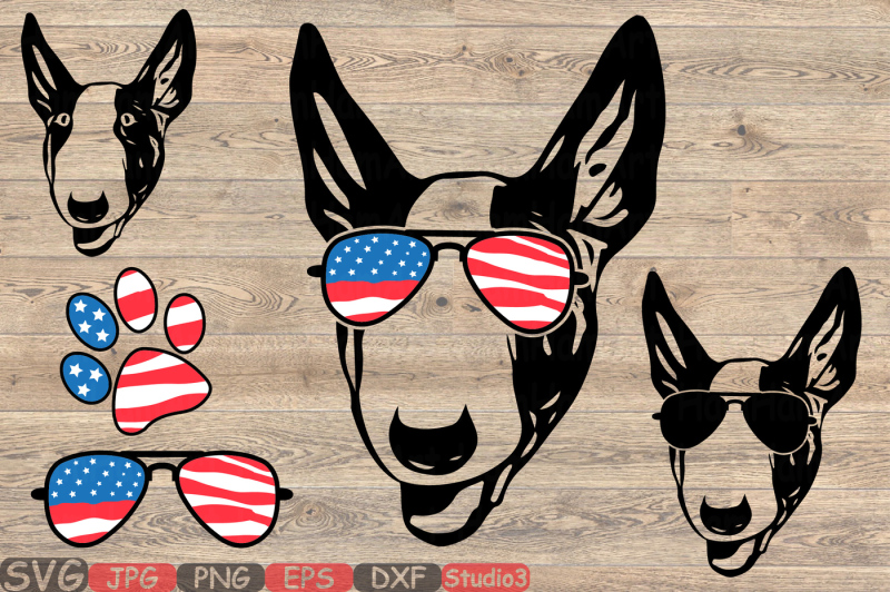 492ab2890937 Bull Terrier Dog USA Flag Glasses Paw Silhouette SVG 4th July 862S By  HamHamArt