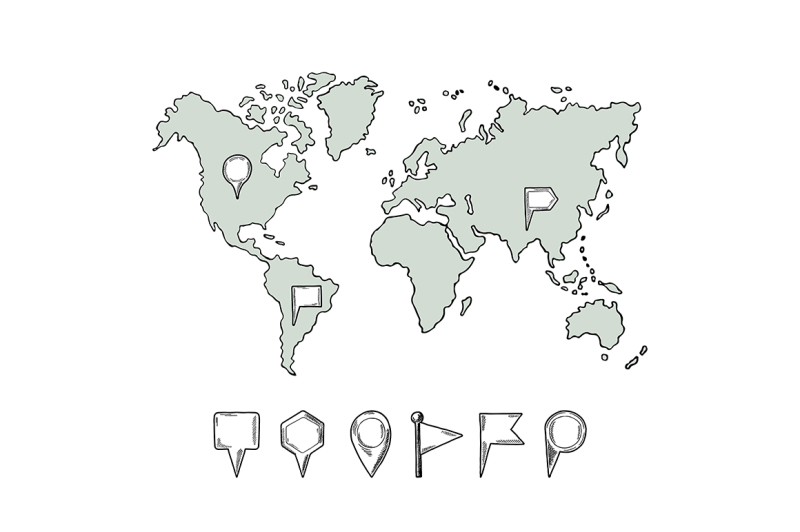 Doodle illustrations of world map with hand drawn pins By ONYX ...